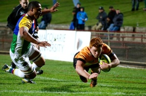 Under 20's prodigy, Andrew Kellaway, dives over for a try against the Rays