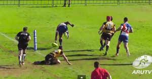 Naiyaravaro crossing for the second try of his brace against Perth Spirit. Photo ARU TV