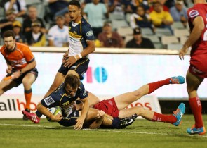 James Dargaville scoring on his Super Rugby debut for the ACT Brumbies. Photo from: www.zimbio.com