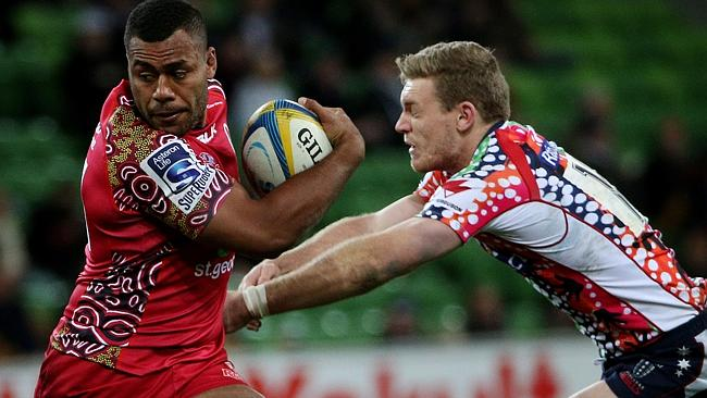 Samu Kerevi during his Super Rugby run-on debut. Photo sourced from: www.couriermail.com.au