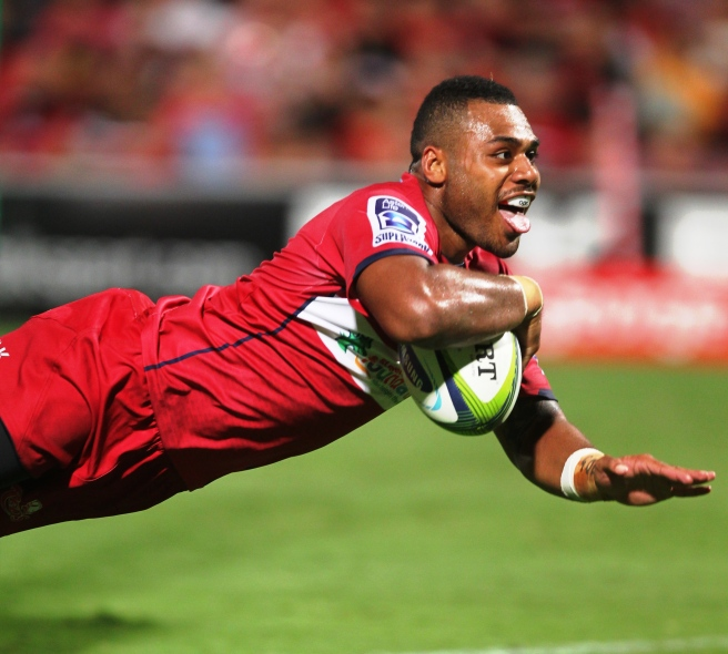 Samu Kerevi crosses for a try against the Crusaders. Photo sourced from: www.redsrugby.com.au