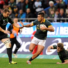 Damian de Allende in the Springbok 42-10 win against the World XV last weekend.  Photo sourced from: Gallo Images