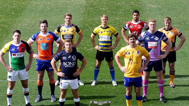 The 9 captains pose for the NRC 2015 launch. (News Corp Australia)