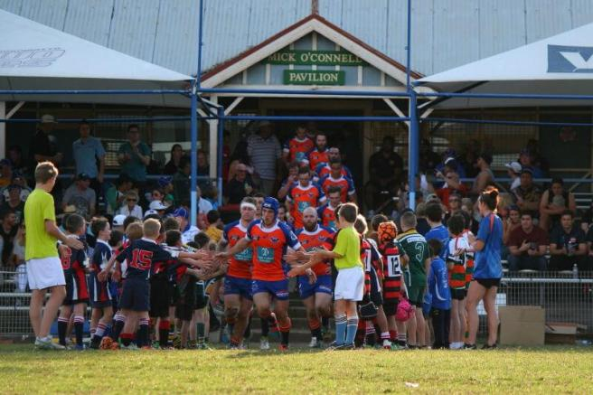 The home side, the Greater Sydney Rams running onto Merrylands RSL Rugby Park. (Peter Mitchell)