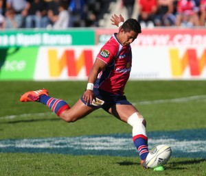 Rohan Saifolo kicking for ITM team the Tasman Makos. Photo sourced from Zimbio